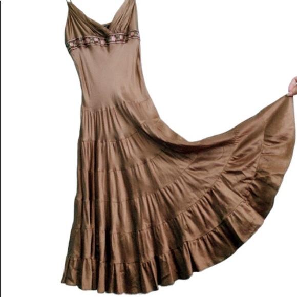 Betsey Johnson Dresses & Skirts - Betsey Johnson brown silk prairie skirt dress sz 4